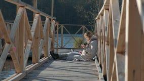 Parcela de tierra con la casa y la opinión superior tirada aérea de la piscina Chalet del lado del lago almacen de metraje de vídeo