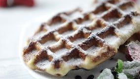 Parcela de waffles belgas com as morangos frescas na placa A mão do ` s do cozinheiro chefe que polvilha o pó do açúcar da sobrem video estoque