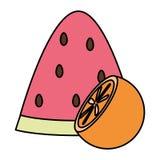 Parcela fresca da melancia com laranja ilustração royalty free