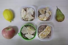 Parcelas do alimento correto - trigo mourisco e galinha imagem de stock