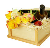 Roses and wine as a gift Royalty Free Stock Image
