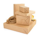Parcels boxes  on white background Royalty Free Stock Photos