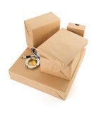 Parcels boxes on white Stock Photos