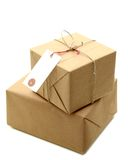 Parcels boxes. Wrapping, isolated on white Stock Photography