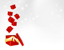 Parcels falling into a big gift box Royalty Free Stock Image
