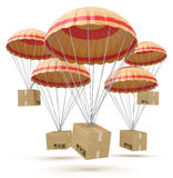 Parcels flying down from sky with parachutes, delivery service Royalty Free Stock Photography