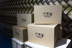 Parcels ready for dispatch. Group of parcels ready for shipment stock image