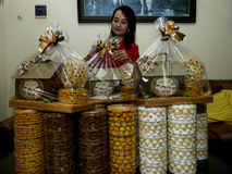 Parcels. Traders were packed parcels of pastries in the city of Solo, Central Java, Indonesia Stock Images