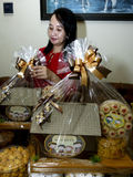Parcels. Traders were packed parcels of pastries in the city of Solo, Central Java, Indonesia Stock Image