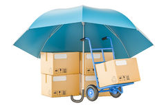 Parcels under umbrella, safety and protect delivery concept. 3D Stock Images
