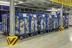 The parcels. VNUKOVO, MOSCOW REGION, RUSSIA - APR 7, 2015: Russian Post. Logistics center in Vnukovo, parcels in containers Royalty Free Stock Images