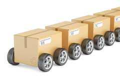 Parcels with wheels, fast delivery concept. 3D rendering Royalty Free Stock Photo