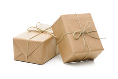 Parcels wrapped with brown paper royalty free stock photos