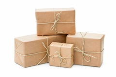 Parcels wrapped with brown paper stock image