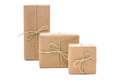Parcels wrapped with brown paper royalty free stock image