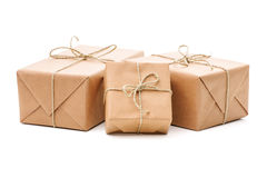 Parcels wrapped with brown paper stock images