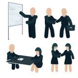 Parceria do negócio Ilustração da reunião de negócios Ilustração lisa do vetor da cor no fundo branco foto de stock