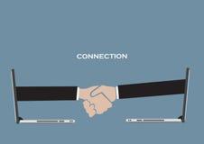 Parceria do negócio sobre o vetor conceptual Illustrat da tecnologia Imagem de Stock Royalty Free