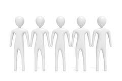 Parceria: grupo de cinco homens 3d brancos, ilustração 3d Fotos de Stock Royalty Free
