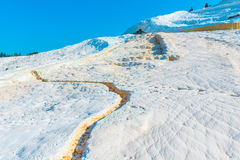 Parched chalky mountain in Pamukkale Stock Image