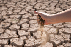 Parched land with hand Royalty Free Stock Photography