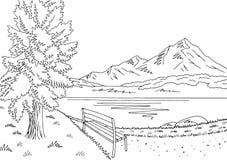Parcheggi il vettore bianco nero grafico dell'illustrazione di schizzo del paesaggio del lago Immagine Stock Libera da Diritti