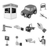 Parcheggiando per le icone monocromatiche delle automobili nella raccolta dell'insieme per progettazione Attrezzatura e web delle Fotografia Stock Libera da Diritti