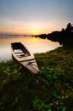 Parcheggio della barca del pescatore alla spiaggia di Jubakar Immagine Stock Libera da Diritti