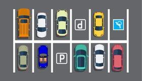 Parcheggio della città con differenti automobili Fotografia Stock