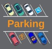Parcheggio della città con differenti automobili Fotografia Stock Libera da Diritti