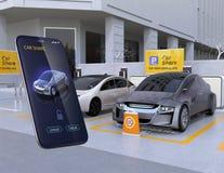 Parcheggio della parte dell'automobile e smartphone app per dividere Immagini Stock