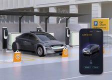 Parcheggio della parte dell'automobile e smartphone app per dividere Fotografie Stock Libere da Diritti