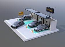 Parcheggio di car sharing fornito del pannello solare, batteria isolata su fondo grigio Royalty Illustrazione gratis