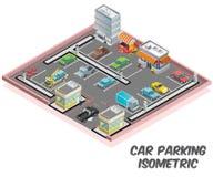 Parcheggio, dove molte automobili sono concetto isometrico parcheggiato del materiale illustrativo royalty illustrazione gratis