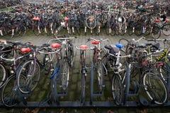 Parcheggio riempito della bicicletta Fotografia Stock Libera da Diritti