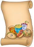 Parchemin avec de divers repas de dessin animé Images libres de droits