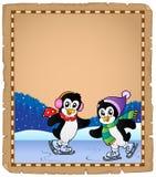Parchemin avec des pingouins de patinage de glace Photo stock
