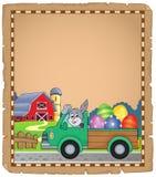 Parchemin avec le camion de Pâques près de la ferme Image stock