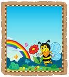 Parchemin avec le thème heureux 3 d'abeille Photographie stock