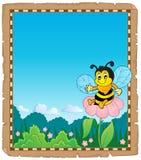 Parchemin avec le thème heureux 2 d'abeille Image stock