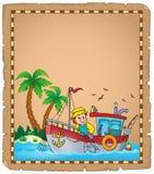 Parchemin avec le thème 3 de bateau de pêche Photo stock