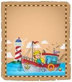 Parchemin avec le thème 2 de bateau de pêche Photo stock