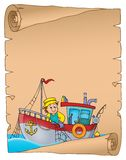 Parchemin avec le thème 1 de bateau de pêche Photos libres de droits