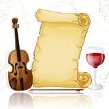 Parchemin avec le violon et le vin sur le fond blanc illustration libre de droits