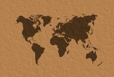 Parchemin de carte du monde Image libre de droits