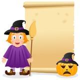 Parchemin de Halloween avec la sorcière mignonne Images libres de droits