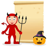 Parchemin de Halloween avec le diable rouge Images libres de droits