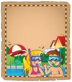 Parchemin 1 de plongeurs de prise d'air d'enfants Photos stock