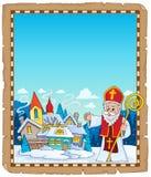 Parchemin 4 de sujet de Saint-Nicolas images stock