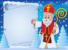 Parchemin 5 de sujet de Saint-Nicolas image libre de droits